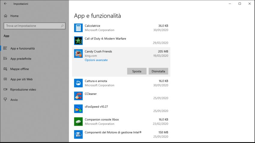 Come eliminare programmi su Windows 10