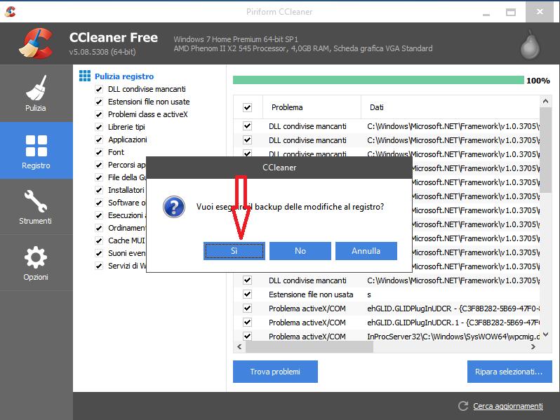 Come pulire il registro di Windows