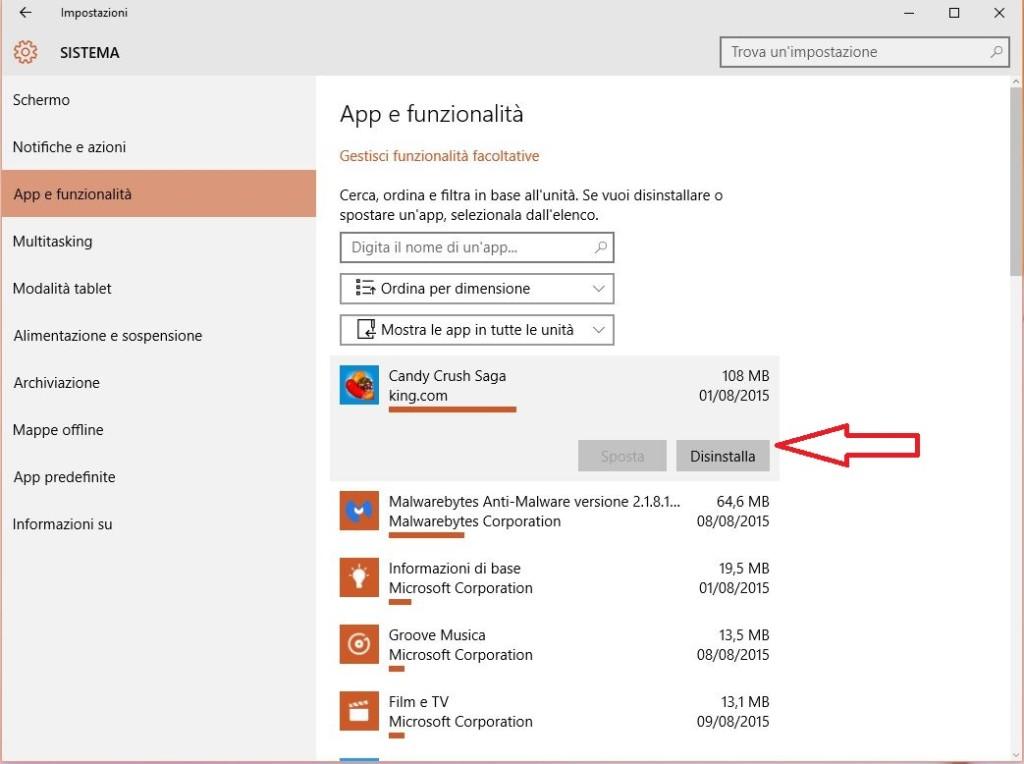 come disinstallare una applicazione o un programma su Windows 10