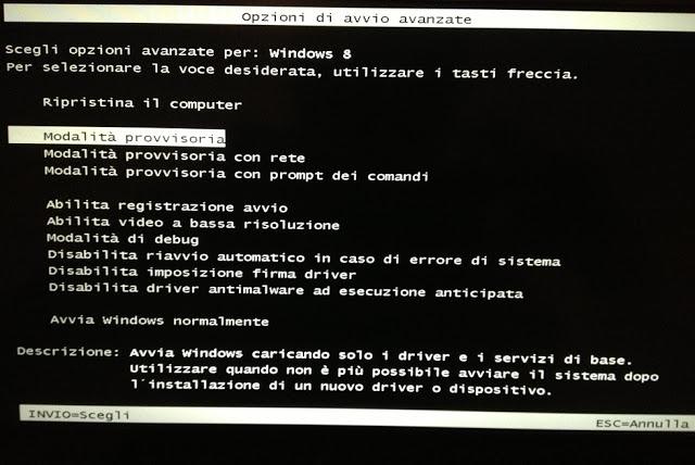 Accedere in Modalità provvisoria Windows 8