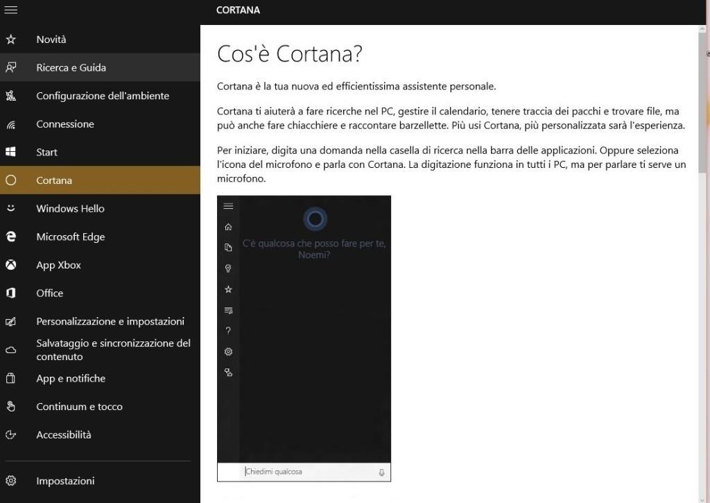 Cortana assistente vocale Windows 10