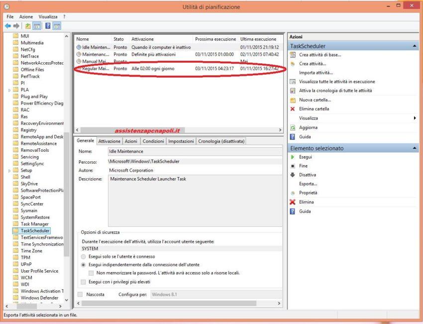 Disattivare la manutenzione automatica su Windows 8.1