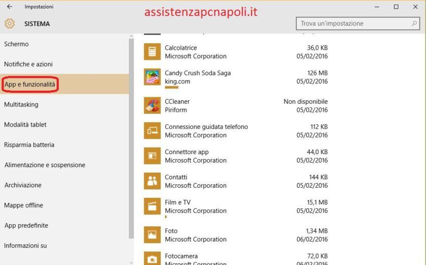 Come disinstallare Applicazioni e Programmi su Windows 10