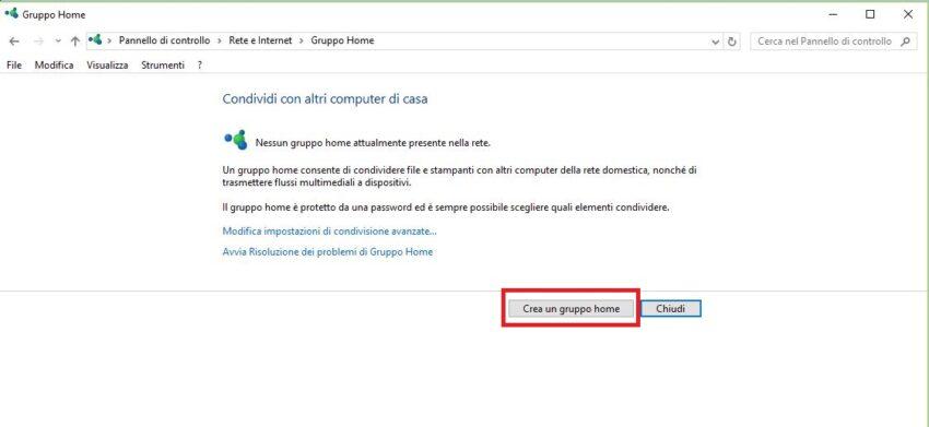 Come creare il Gruppo Home in Windows 10.