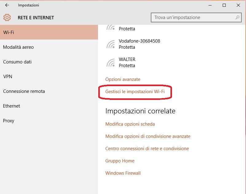 Come cancellare o dimenticare le Reti e password WIFI in Windows 10