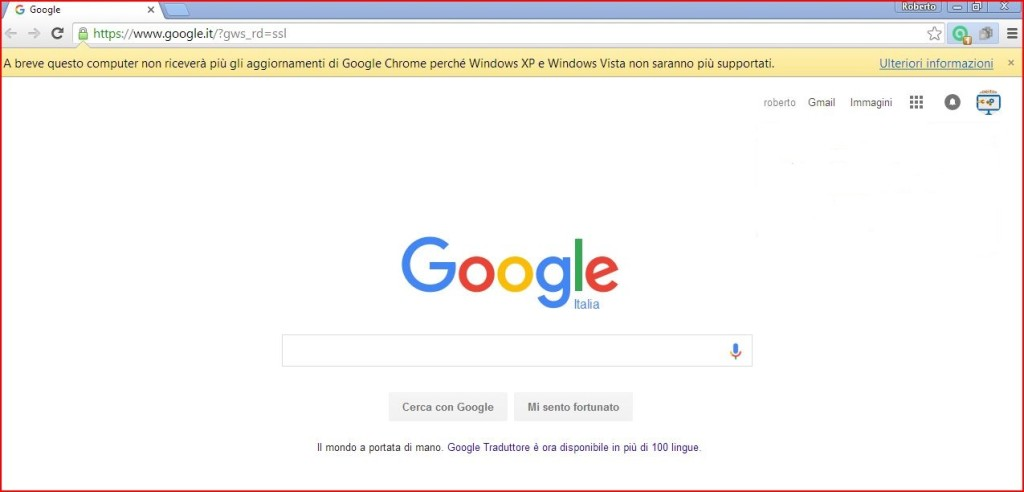 Chrome fine supporto Windows Vista