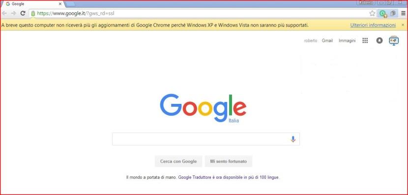 Chrome fine supporto Windows Vista