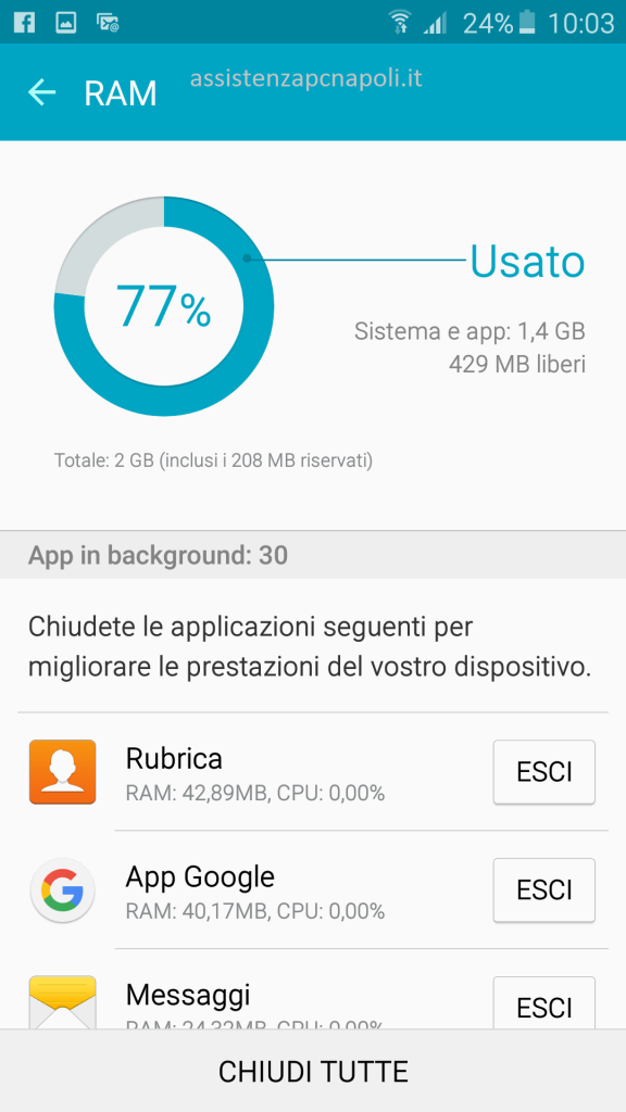 Applicazione Smart Manager Android
