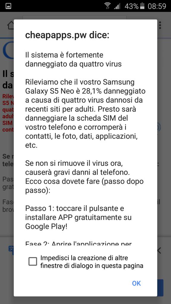 Messaggio Virus sul Dispositivo Mobile