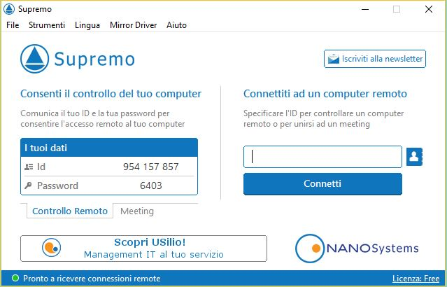 Supremo software per controllo remoto