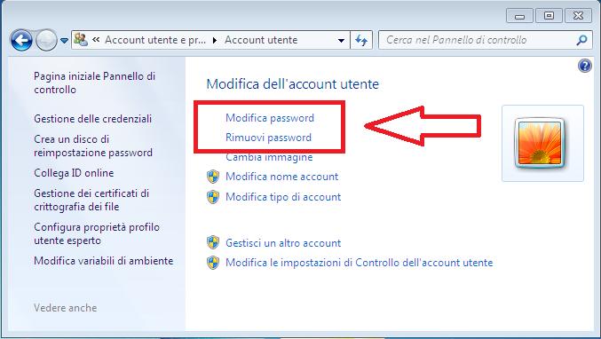 Come modificare o eliminare password Windows 7