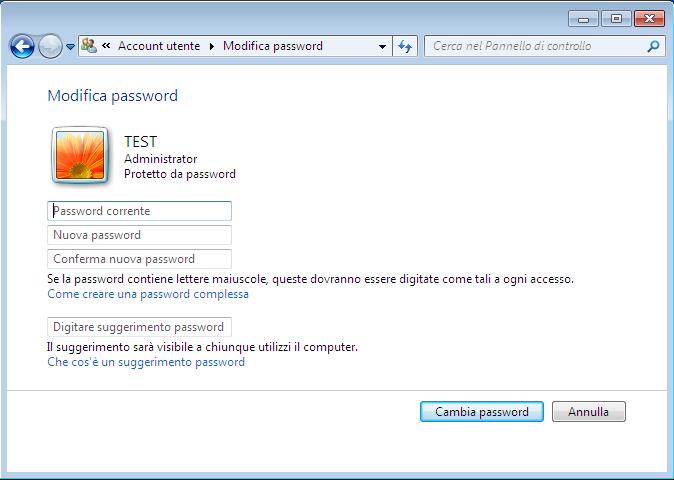 Step 2 – Alla seguente finestra, continua su Account utente.