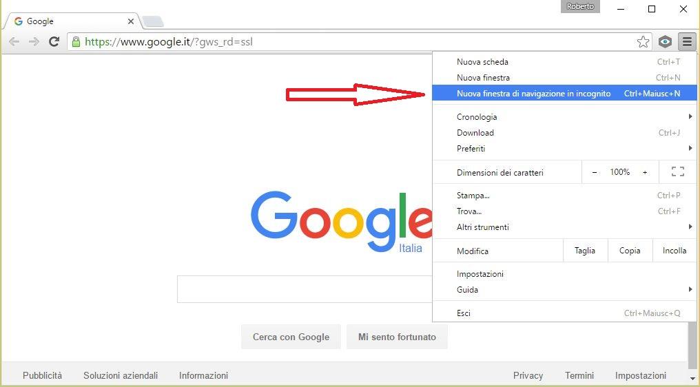 Navigare incognito con google chrome assistenza pc napoli - Finestra di navigazione in incognito ...