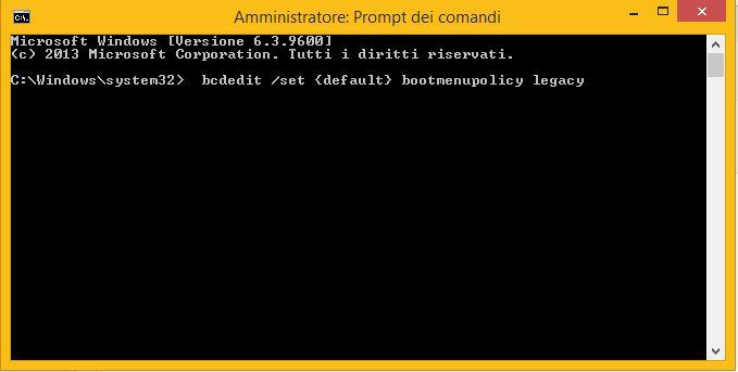 Come ripristinare il tasto F8 su Windows 8.1