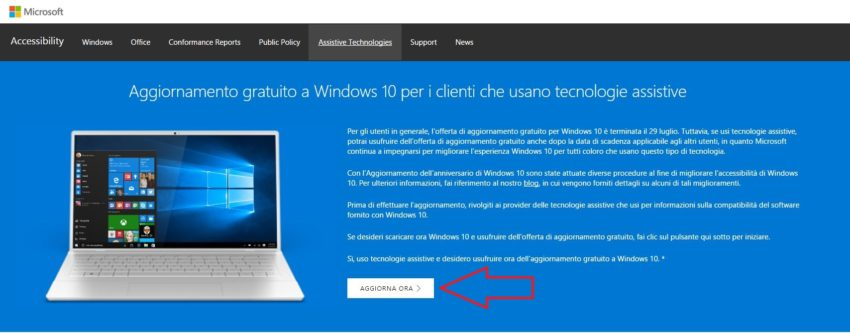 Come aggiornare a Windows 10 dopo il cessato Update gratuito