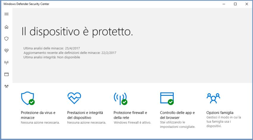 Antivirus Defender Security Center Windows 10