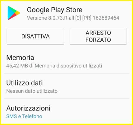 Il programma Google Play Store è stato arrestato