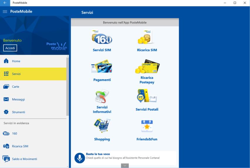 Applicazione PosteMobile su Windows 10