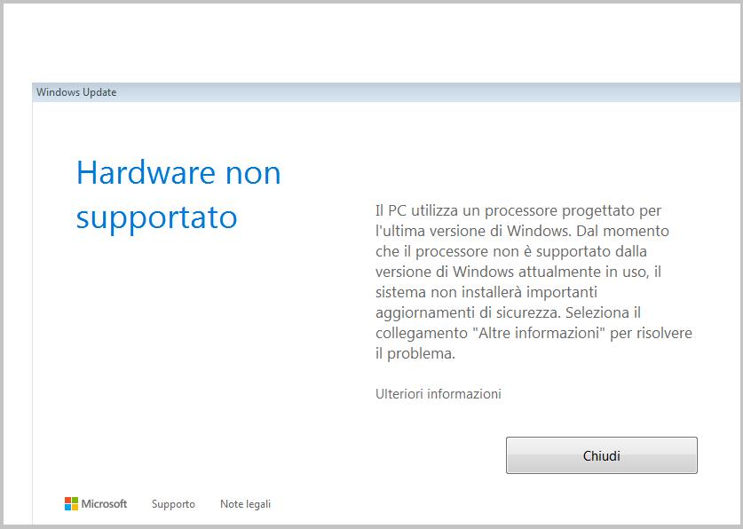 Il PC utilizza un processore per ultima versione Windows