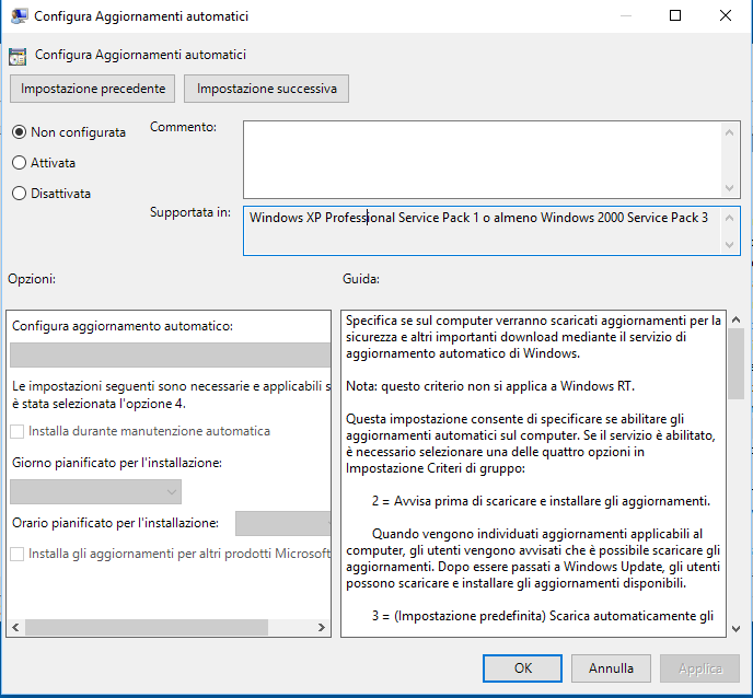 Come modificare gli aggiornamenti di windows 10