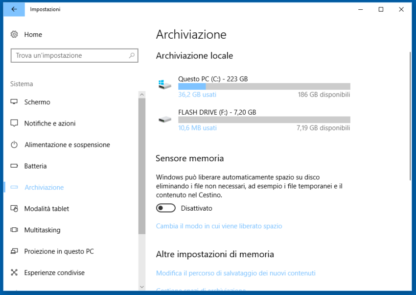 Come pulire Windows 10 con Sensore memoria