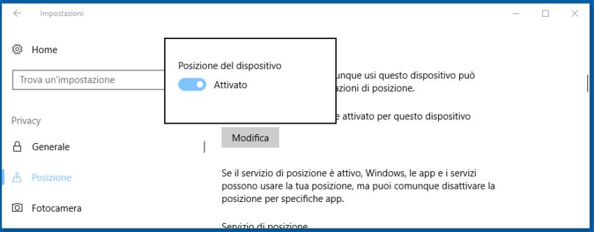 Modificare le impostazioni della privacy Windows 10