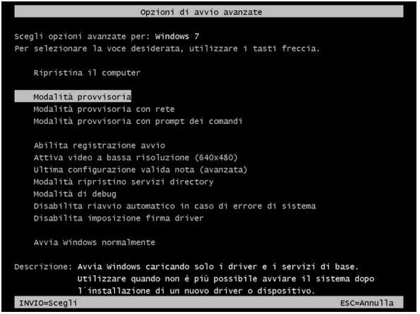 Modalità provvisoria Windows