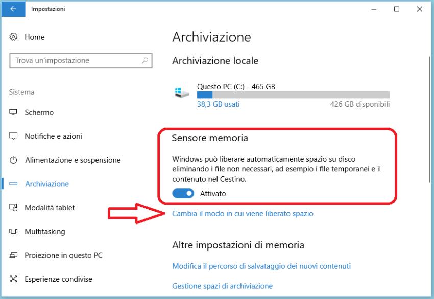 Liberare spazio su Windows 10 automaticamente