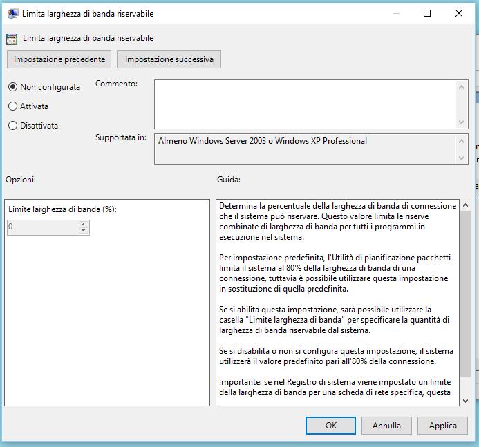 Aumentare la velocità di internet Windows 10