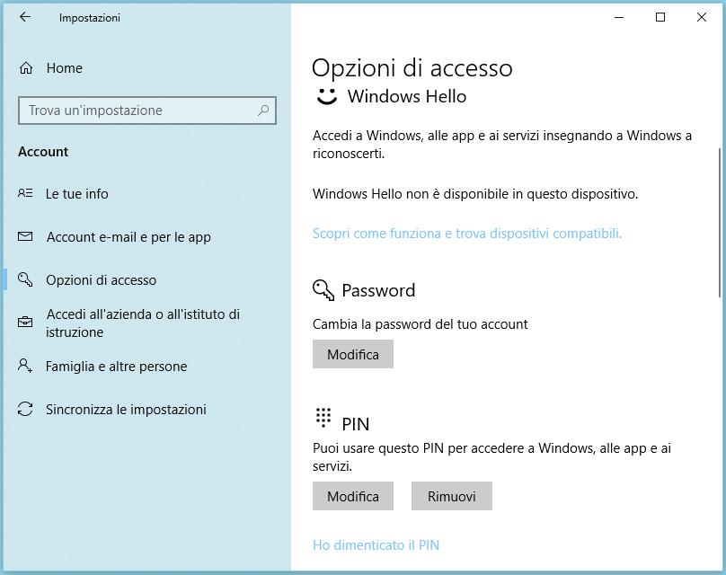 Come eliminare PIN o password su Windows 10