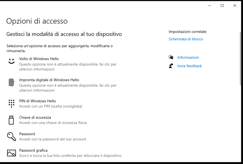 Eliminare PIN su Windows 10