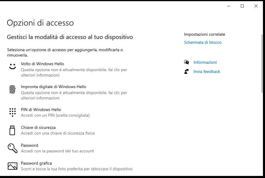 Eliminare PIN su Windows 10