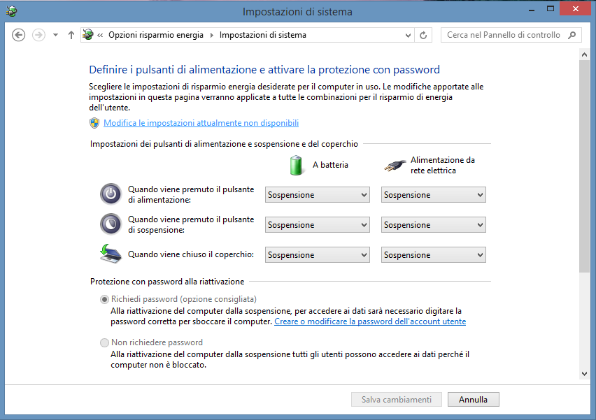 Rimuovere password Windows 8