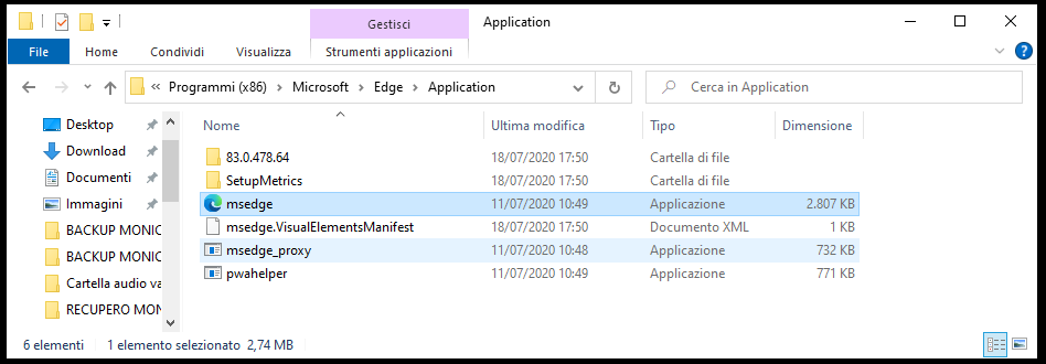 Disinstallare Microsoft Edge Chromium