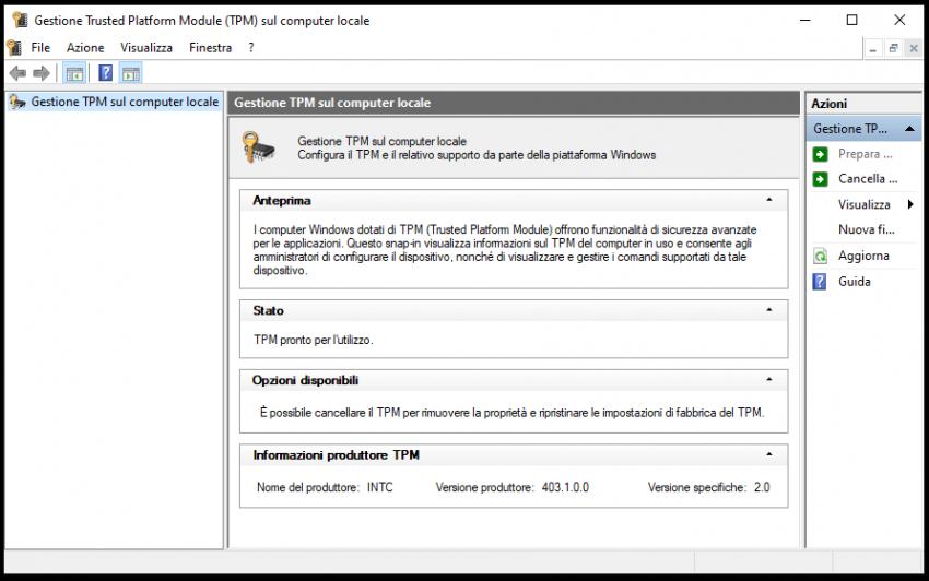 Verificare o attivare il TPM Windows 11