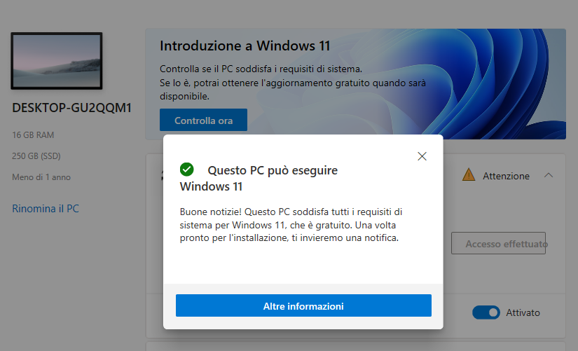 Requisiti per installare Windows 11