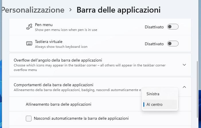 Personalizzare menu start Windows 11